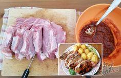 Nejchutnější maso s bramborami pečené vcelku - tajemství se skrývá v marinádě.   NejRecept.cz Slovak Recipes, Thing 1, Kefir, Ketchup, Pork, Food And Drink, Cooking Recipes, Beef, Teller