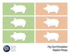 "Free Napkin Ring printables designed by @Jessica Griffin for the Glue Dots ""Pig Out"" Summer BBQ! #GlueDots #FreePrintables #summer #partydecor #partyplanning"