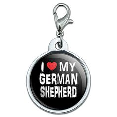 Chrome Plated Metal Small Pet ID Dog Cat Tag I Love My Dog EK  German Shepherd Stylish ** You can find more details by visiting the image link.