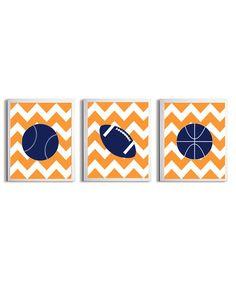 Nursery Sports Football Basketball Baseball Art Chevron Boy Girl Navy Orange Kids Room customizable set of 3 wall art prints each 8x10   What this
