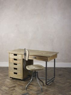 Baxter Industrial Desk with Drawers and Desk Chair