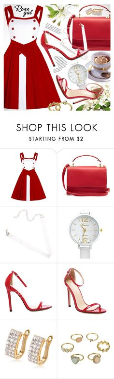 """ROSEGAL chic red & white vintage dress with buttons"" by vn1ta ❤ liked on Polyvore featuring Sophie Hulme and vintage"