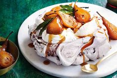 Phoebe Wood provides a sleek spin on a timeless classic with this chocolate pavlova with spiced pears.