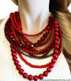 CLASSIC, Statement Necklace, Red, Burgundy, Raspberry, Sparkle, Chunky, Pearls, Vintage, Bridal, Bridesmaid, Jewelry by Jessica Theresa. via Etsy.