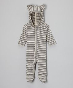 Look at this Plum Bunny Plum Bunny Stripe Organic Bear Footie - Infant on #zulily today!
