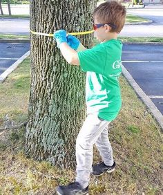 """Little Arborist in training. Here's how Giroud Plant Health Care Manager, Rodney Stahl Jr., inspires his 9 year old son, Brandon aka """"B Diddy"""", to love and care for trees. In this photo he's teaching him how to measure the DBH of an Ash tree. Giroud technicians use DBH to calculate the correct dosage for Emerald Ash Borer control. #giroudtreeandlawn"""