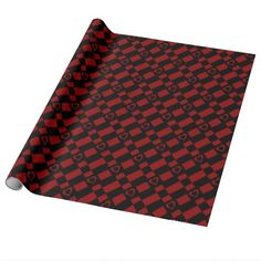 Red & Black Checkered Heart Pattern Wrapping Paper