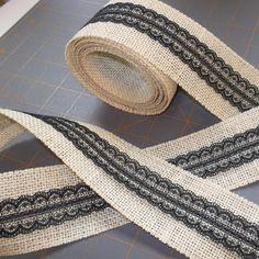Vintage Style Black Lace on BEIGE Burlap Ribbon  by HouseofBurlap