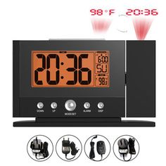 Baldr LCD Digital Snooze Alarm Clock Wall Projection Time With 12/24 Hour Temperature Calendar Displ