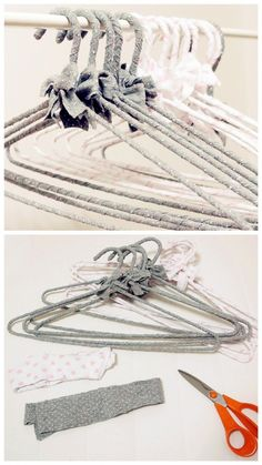 Time for some DIY hangers! You Need: A 1in.Thick very long strip of stretchy ribbon that stays in place when you wrap it & a Wire Hanger.   Begin with measuring 2 in. from the start of the ribbon and from there, start wrapping it around the entire wire hanger. Now with the hanger you have created so far, take the ribbon and measure 2 in. into it. Tie a bow in the middle of the hanger where the handle meets the hook with the 2 in. ribbon of yours. Finally  wrap the hook part and you are done!
