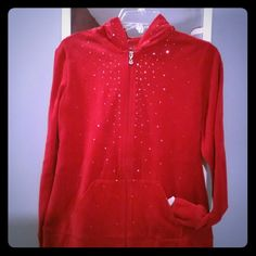 Style & Co Sport  Velour Hoodie L New Pretty Diamond Stud Velour Hoodie size Petite Large in Prussian Red New W/tag Style & Co Tops Sweatshirts & Hoodies