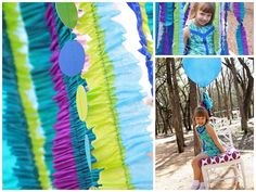 Peackock colored streamers sewn together