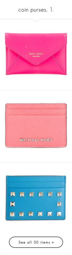 """""""coin purses, 1."""" by theimanimo ❤ liked on Polyvore featuring bags, wallets, pink, genuine leather wallet, pink wallet, genuine leather bag, card slot wallet, credit card holder wallet, men's fashion and men's bags"""