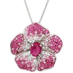 Sterling Silver Pink Faded Crystal Flower Pendant-Necklace made with... ($75) ❤ liked on Polyvore featuring jewelry, necklaces, collane, chain necklace, pink necklace, crystal pendant necklace, crystal necklace pendant and crystal pendant