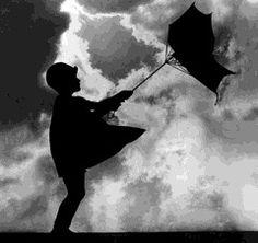 "Black and white ""Windswept Umbrella"" photograph"