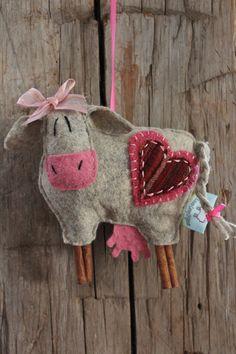 EweLa MooLa COW Ornament by farmyardart on Etsy