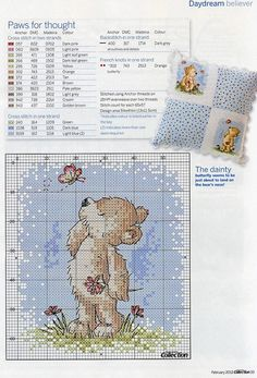 teddy with butterflies part 2 Cross Stitch Cards, Cute Cross Stitch, Cross Stitch Alphabet, Cross Stitch Animals, Cross Stitch Kits, Cross Stitch Designs, Baby Cross Stitch Patterns, Cross Stitch Fabric, Cross Stitching
