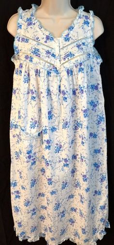 Secret Treasures Long Cotton Sleeveless Strap Nightgown Small s Blue Floral   eBay