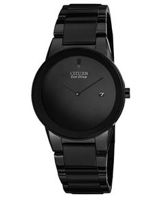 Citizen Men's Eco-Drive Axiom Black Ion-Plated Stainless Steel Bracelet Watch 40mm AU1065-58E - Men's Watches - Jewelry & Watches - Macy's