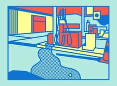 """""""I wanted to draw something not very aesthetically pleasing,"""" says London illustrator Thomas Hedger of his latestwork—a series of vibrantly colored petrol stations.These still compositions are a departure from the tongue-in-cheek style that Hedger has become known for, and which high-profile clien"""