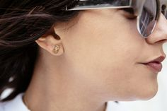 Alison Lou gold bar earring