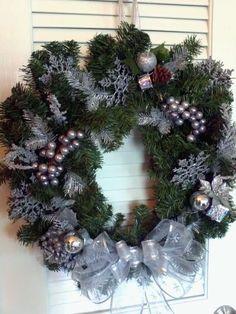Silver Christmas Wreath Holiday Decor - Faux Evergreen Wreath. $45.00, via Etsy.