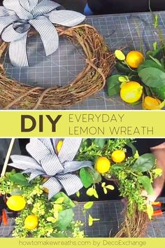 Need a simple everyday front door decor? Check out this DIY lemon wreath tutorial that is easy and fun to make. You'll have a cute home decor in no time! Make Your Own Wreath, How To Make Wreaths, Wreath Making, Front Door Decor, Wreaths For Front Door, Lemon Wreath, Wreath Supplies, Pretty Room, Cute Home Decor