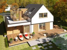 Podpiwniczony dom z poddaszem użytkowym, może być wybudowany na wąskiej działce. House Structure Design, Modern House Design, House Deck, Facade House, Family House Plans, Fancy Houses, House Extensions, Home Fashion, Exterior Design