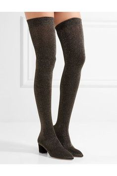 Charlotte Olympia - Less Is More Metallic Jersey Over-the-knee Boots - Black - IT35.5