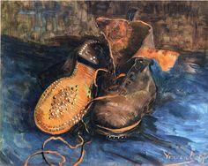 Page: A Pair of Shoes Artist: Vincent van Gogh Completion Date: 1887 Place of Creation: Paris, France Style: Post-Impressionism Genre: still life Technique: oil Material: canvas Dimensions: 34 x 41 cm