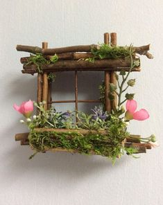Mini Fairy Window 2 1/2 inch by 2 1/2 inch size, add Fairy Shoes see below option~ Handcrafted by Olive ~ always one of a kind #minigardens