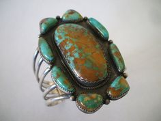 Huge NAVAJO Sterling Silver & Royston TURQUOISE Cluster Cuff BRACELET.  TurquoiseKachina on Etsy, $521.10