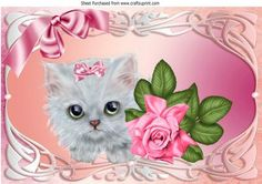 Cute kitten with pink bow and rose in ornate frame A4 on Craftsuprint - Add To Basket!