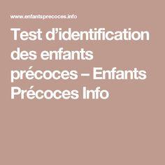 Test d'identification des enfants précoces – Enfants Précoces Info