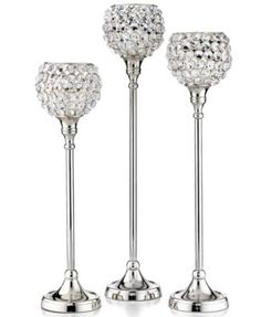 Set of Three Sparkle Ball Candle Holders