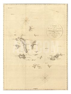 1798 Map of the Galapagos Islands in the Pacific Ocean Premium Poster at Art.com
