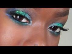 Teal Glitter & Blue Makeup | BRIGHT Eye makeup