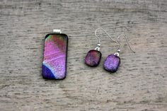 Purple Fused Dichroic Glass Pendant and Earring by DragonGlassUSA