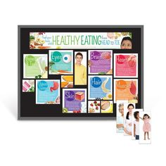 """Includes two 5-1/2"""" x 17"""" title header pieces and a variety of photo information cards, laminated for durability. Sized to fit a 3' x 4' bulletin board. Bulletin board not included. Fuel your whole body by making healthy food choices, from head to toe! The Healthy Eating From Head to Toe Bulletin Board Kit features nutritious food choices and nutrients that benefit each part of the body the most. The bulletin board cards feature illustrated body parts and food and nutrient benefits for the…"""