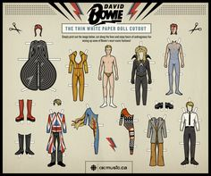 "Perform an internet search on the phrase ""David Bowie Paper Doll"" and what do you get? David Bowie paper dolls are proliferating in astonishing numbers. Sharpen your scissors and behold! Ziggy Stardust, Lady Stardust, Glam Rock, David Bowie Dress, David Bowie Costume, Jean Paul Gaultier, Bowie Birthday, Internet Trends, The Thin White Duke"