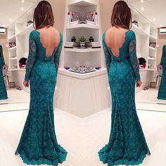 Long Sleeve Lace Prom Dress, Backless Mermaid Evening Gowns with Buttons, Illusion Prom Dress
