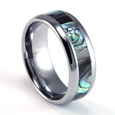 8mm Mens / Woman's Tungsten Carbide Ring with Dark Mother of Pearl / Abalone Inlay Design FJK Jewelry http://www.amazon.com/dp/B004OUQZT2/ref=cm_sw_r_pi_dp_07M8ub09VKTNB