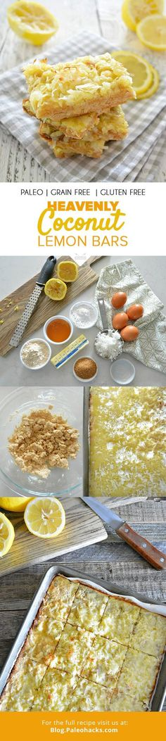 "Nothing says ""farewell summer"" like these sweet and tangy dessert bars, bursting with fresh coconut and lemon flavors topped on a buttery coconut flour crust. For the full recipe, visit us here: http://paleo.co/coconutlemonbars"