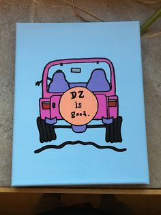 DZ is good life is good jeep painted painting canvas delta zeta sorority little craft