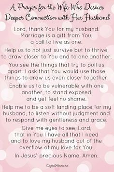 Prayers and how to pray:Do you desire deeper connection with your husband? Authentic closeness in your marriage? This prayer is for you. Genesis I will. Prayer For My Marriage, Christ Centered Marriage, Godly Marriage, Save My Marriage, Marriage Relationship, Happy Marriage, Marriage Advice, Love And Marriage, Relationships