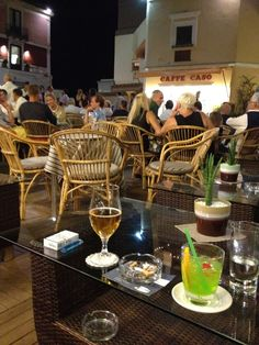 Cocktails in the piazza Capri Island Italy 2012