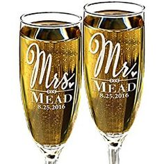 Custom Mr and Mrs Wedding Champagne Flutes Personalized with Last Name and Date for Newly Married, Anniverssary Favor, Couples Gift