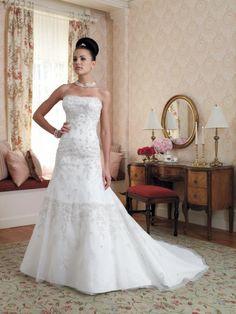 Satin Corset Bodice Strapless A-line Wedding Dress