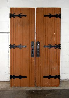 "These are antique Gothic oak double entry doors.These doors are roughly 28"" wide x 90"" tall.There are some dings, scratches, and paint fading on each door. I have also added a couple of pictures to show some wood rot on the bottom of the doors. 