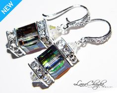 Wedding Mother of The Bride Gift Earrings Swarovski Vitrail Medium Cube Crystal Sterling Silver Cubic Zrconia. $27.00, via Etsy.